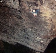 Rock Climbing Photo: Looking down from belay under roofs