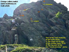Rock Climbing Photo: Route Photo #2 - Climber in the left-slanting chim...