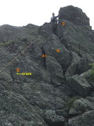 Rock Climbing Photo: Route Photo 3: Top of P2 - The Chimney-Crack, key ...