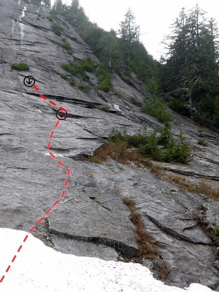 Road to Nowhere, 3 O Clock Rock.  Notice location of first belay under overlap, as it can be hard to spot!