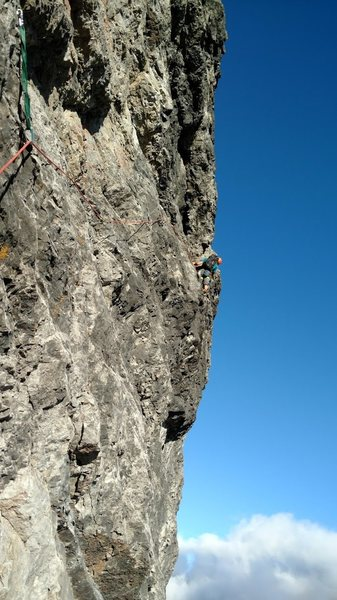 Rock Climbing Photo: Frede out on P1.  Solid thoughtful climbing from t...