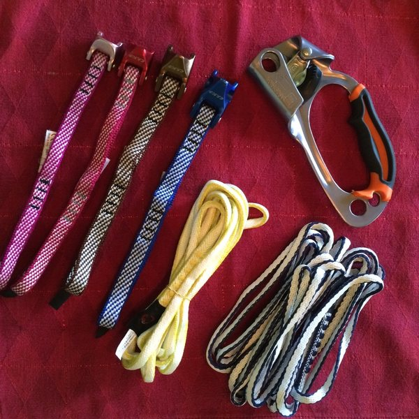 Petzl ascender, slings, tri-cams