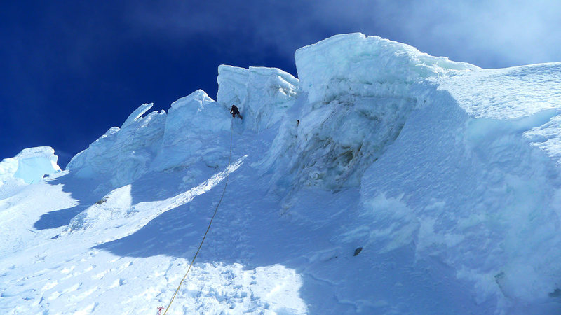 Nearing the top of the east ridge. Short ice crux here.