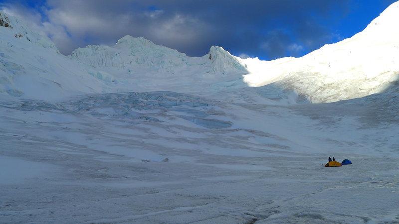 High camp on the Paron Glacier.
