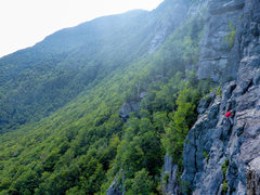 Rock Climbing Photo: Pat topping out on P2.