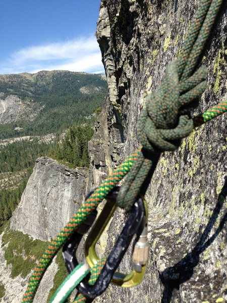 looking at Eagle Buttress from the 3rd Belay of Traveler Buttress, Lovers leap California