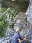 Rock Climbing Photo: P4, traversing too early.  Don't go this way! ...