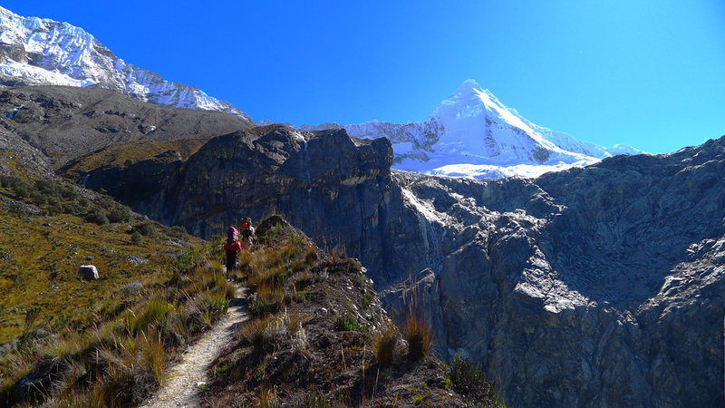 Hiking along the trail above Laguna Paron toward the south face of Artesonraju.