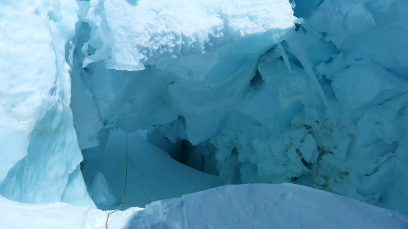 Rock Climbing Photo: The route went through a cool (but spooky) serac t...
