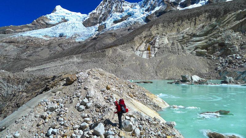 Crossing the moraine of the Paron Glacier.