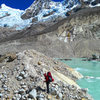Crossing the moraine of the Paron Glacier.