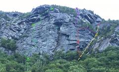 Rock Climbing Photo: Green: Quartz Crack (5.9) Blue: The Diagonal (5.8...