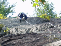 Rock Climbing Photo: RW goes over the upper crux