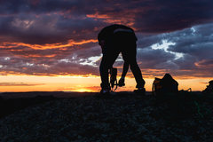 Rock Climbing Photo: Cameron Stebbins drilling the anchor for Straight ...