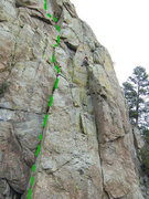 Rock Climbing Photo: Little creatures is green dotted line. Climber is ...