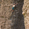 Susan reaches for jugs near the end<br> Half Hearted (5.10d)