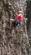 Rock Climbing Photo: Susan battles past the crux  Taking the Bullet (5....