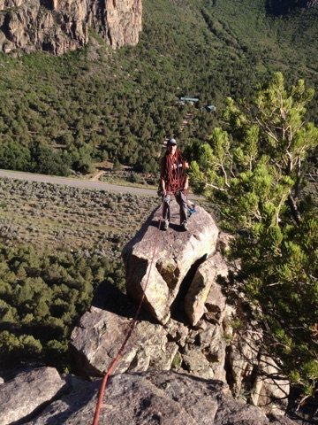 Rock Climbing Photo: Alex's Tower rappel to the right/East. You wil...