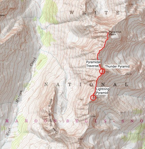 Rock Climbing Photo: Topo map showing rough approximation of the ridge.