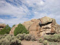 Rock Climbing Photo: Classic V3, crux at top