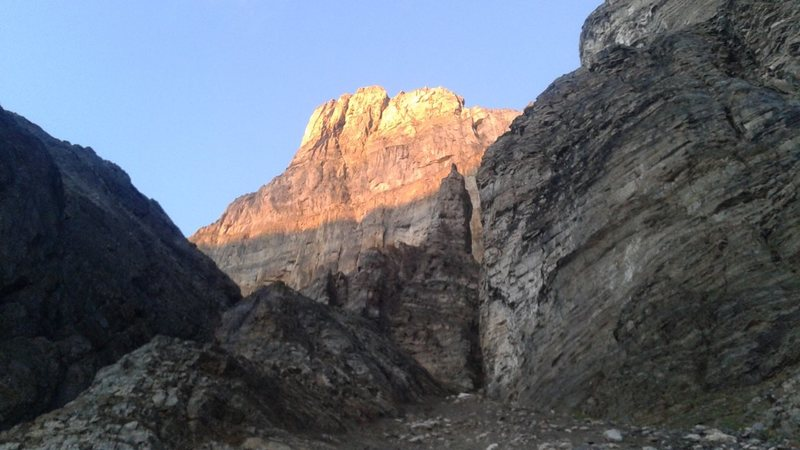 East Face from incorrect approach gully