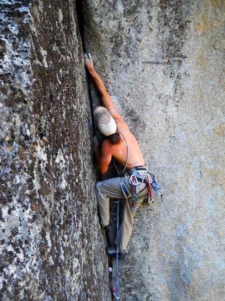 Rock Climbing Photo: Flared jams or sloper lieback, your choice.  Photo...