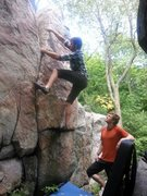 Rock Climbing Photo: Samuel pulling up. Really fun and easily protected...