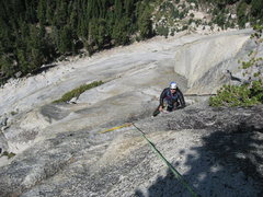 This picture was taken from the pitch 4 belay anchors.