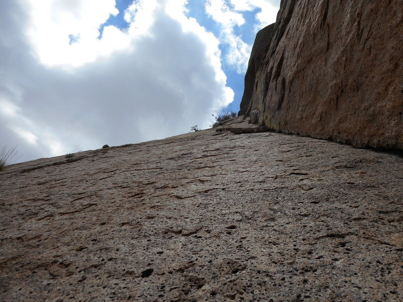 Rock Climbing Photo: looking up the thin section