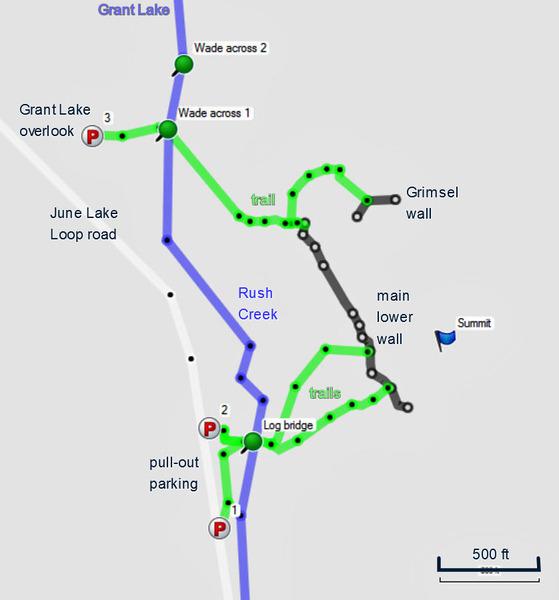 Map of Rush crag on June Lake Loop