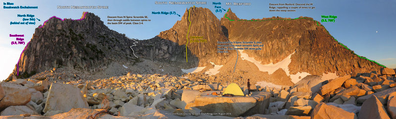 Route Overlay for:<br> SW Ridge, North Nesakwatch Spire<br> Dairyland, South Nesakwatch Spire<br> West Ridge, Mt. Rexford