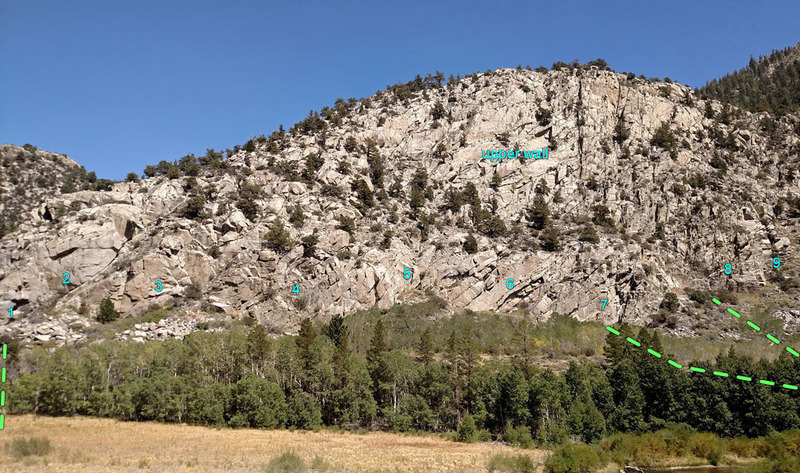 Rush climbing area on June Lake Loop - overview from West.