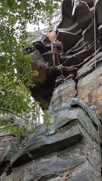 Rock Climbing Photo: pulling through the crux on Teflon Toes