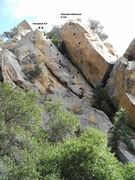 Rock Climbing Photo: No Man Knows the Hour topo (bolts in yellow), in r...