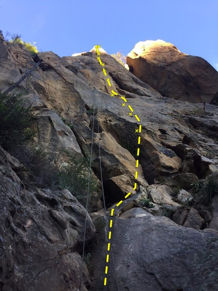 A view of the route from the base, with rappel lines hanging.