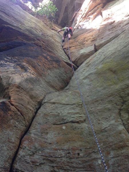 Rock Climbing Photo: Half way to sending.