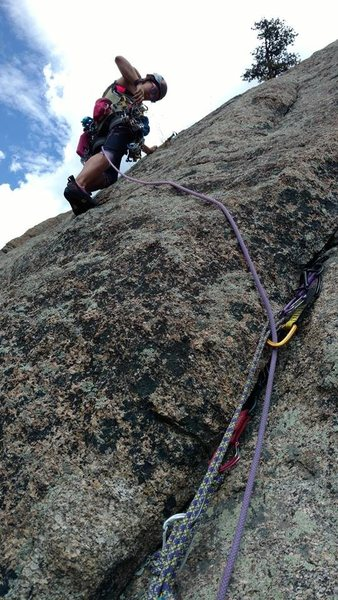 Rock Climbing Photo: Trad lead up the Pear