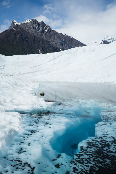Blue pool on the lower Root Glacier