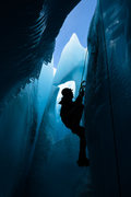 Rock Climbing Photo: Ryan climbing out of a 26meter deep moulin.  www.d...