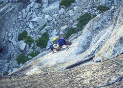 Rock Climbing Photo: Belaying up Will on the crux pitch of OZ.