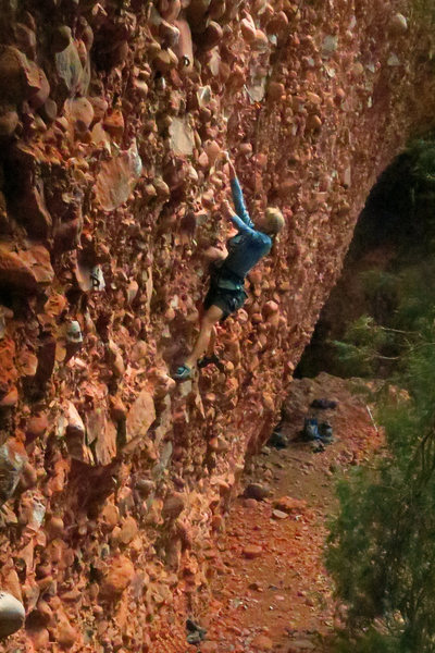 Susan starts the new route<br> Slopy Seconds (5.11c/d)