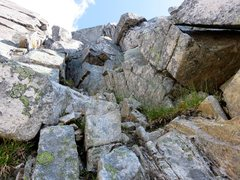Rock Climbing Photo: 5.5 chimney up to the East summit on the West Ridg...
