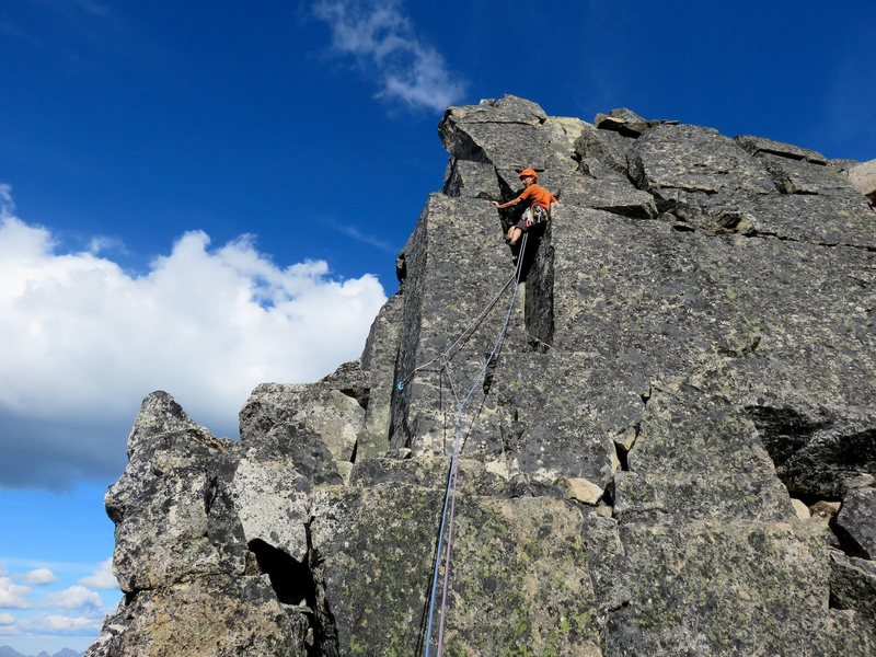 Rock Climbing Photo: Will climbing the 5.6 chimney to the top of the We...
