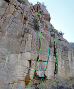 Rock Climbing Photo: Cosmiques sector 8 - lower R side cracks -- Routes...