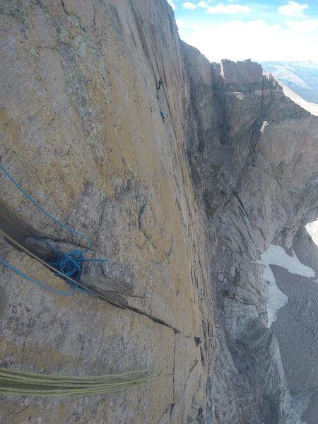 The top of the crux pitch looking down.