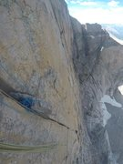 Rock Climbing Photo: The top of the crux pitch looking down.