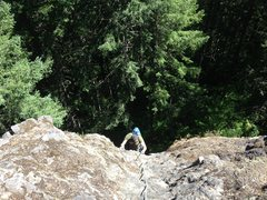 Rock Climbing Photo: Looking down from the second belay station.