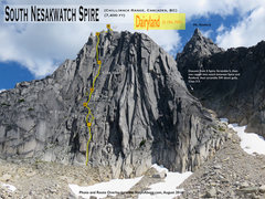Rock Climbing Photo: Route Overlay for Dairyland (10d) on South Nesakwa...