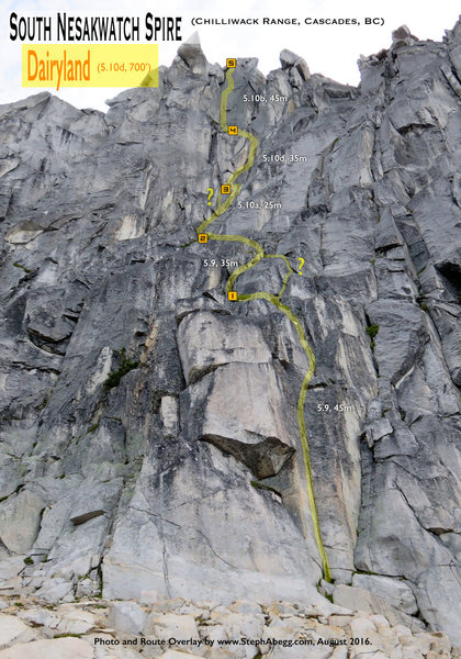 Route Overlay for Dairyland (10d) on South Nesakwatch Spire, Chilliwack Range, BC