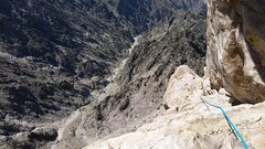 Rock Climbing Photo: Roped solo ascent looking down the crux pitch. The...